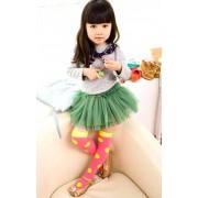 ถุงเท้าแฟชั่นเกาหลียาวสีเขียวจุดชมพู